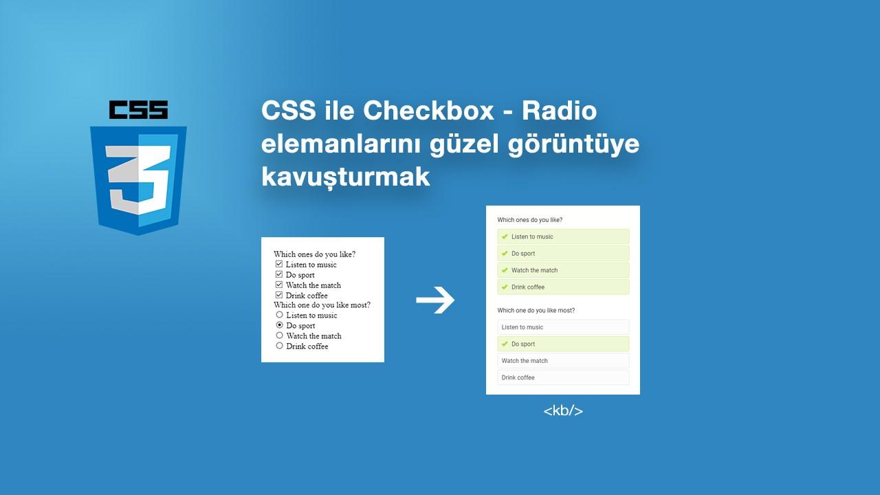 CSS ile Checkbox - Radio elemanlarını güzel görüntüye kavuşturmak